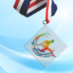 """2"""" LaserCut Inverted Square Acrylic Medal with UV printed Cross Country event logo and red white and blue neck ribbon."""