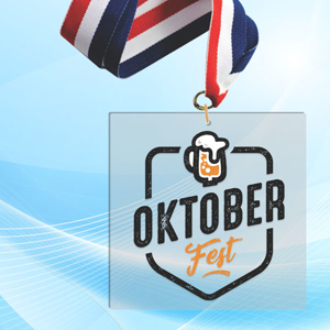 """3"""" LaserCut Square Acrylic Medal with UV printed October Fest event logo and red white and blue neck ribbon."""