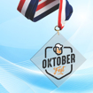 """3"""" LaserCut Inverted Square Acrylic Medal with UV printed October Fest event logo and red white and blue neck ribbon."""
