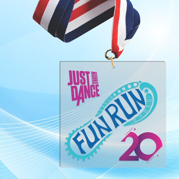"""4"""" LaserCut Square Acrylic Medal with UV printed Just Dance Fun Run event logo and red white and blue neck ribbon."""