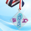 """4"""" LaserCut Inverted Square Acrylic Medal with UV printed Just Dance Fun Run event logo and red white and blue neck ribbon."""