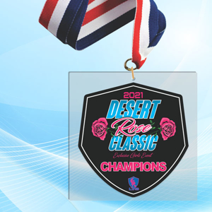 """5"""" LaserCut Square Acrylic Medal with UV printed Desert Rose Classic event logo and red white and blue neck ribbon."""