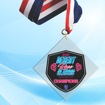 """5"""" LaserCut Inverted Square Acrylic Medal with UV printed Desert Rose Classic event logo and red white and blue neck ribbon."""