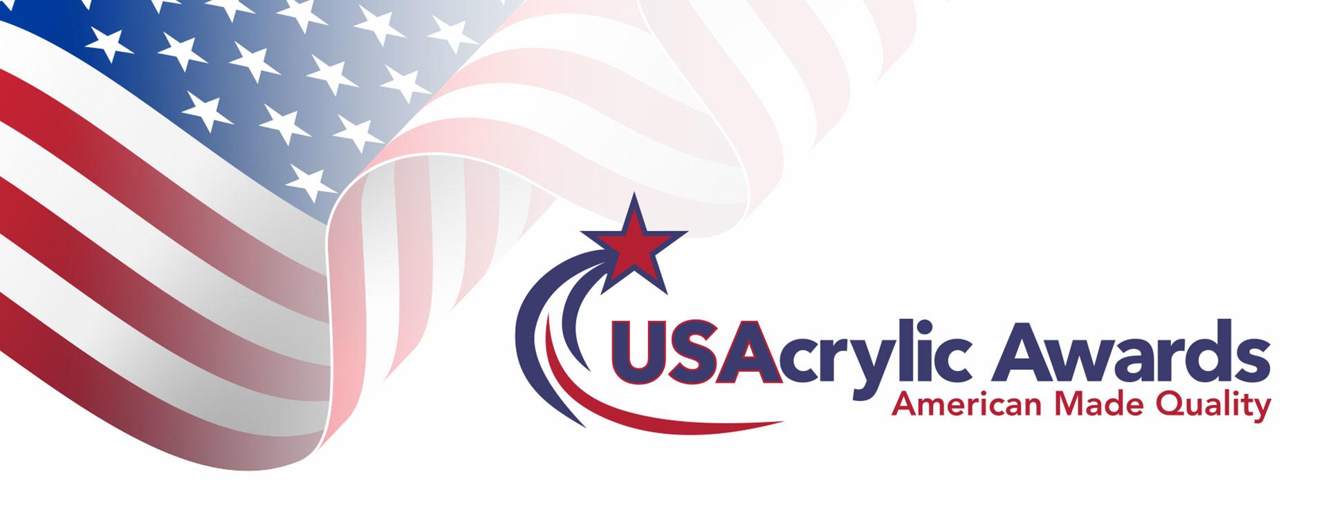 Waving American flag with US Acrylic Awards logo.