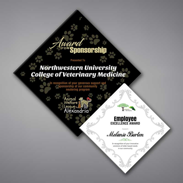 Two Adamas Acrylic Plaques shown black and white with full color imprinting.