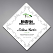 """Adamas Acrylic Plaque shown 16"""" tall with white background and full color imprint of Employee Excellence logo."""