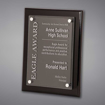 """9"""" x 12"""" Black Piano Finished Plaque with acrylic cover held gracefully over plaque board with aluminum standoffs."""