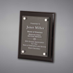 """8"""" x 10"""" Black Piano Finished Plaque with acrylic cover held gracefully over plaque board with aluminum standoffs."""