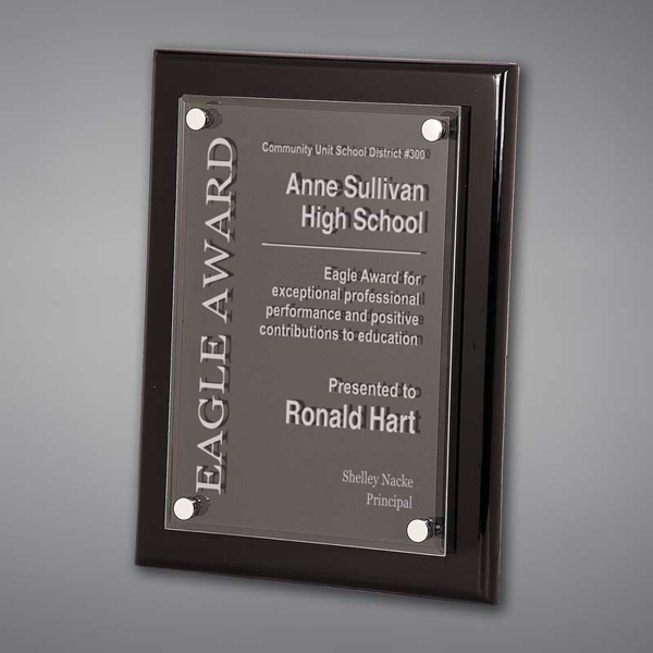 """9"""" x 12"""" Black Piano Finished Plaque with acrylic cover held gracefully over plaque board with aluminum standoffs and engraved text."""