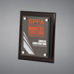 """8"""" x 10"""" Black Piano Finished Plaque with acrylic cover held gracefully over plaque board with aluminum standoffs and full color printed text and logo."""
