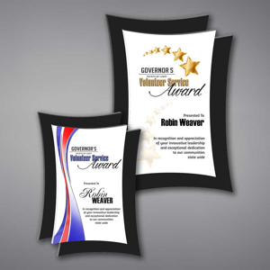 Two Concave Shaped Acrylic Plaque With Unique Floating Design with full color imprint of Governor's Services Award