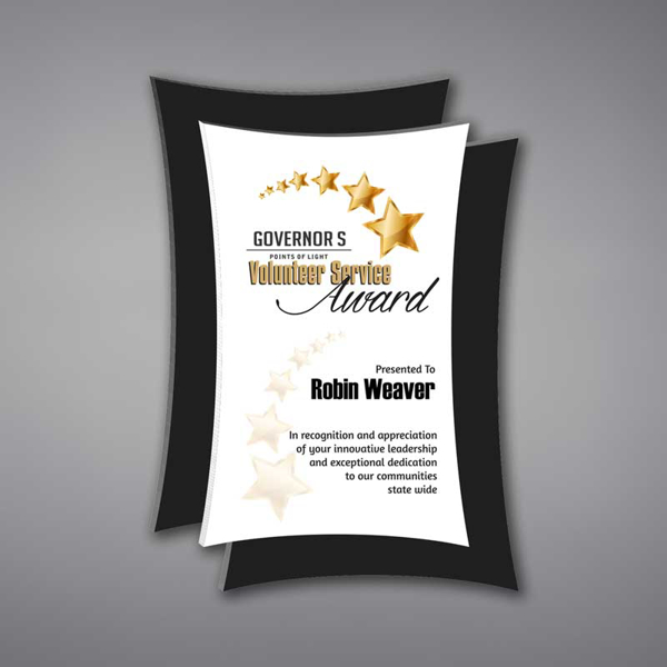 """Concave Acrylic Plaque shown 13"""" tall with white acrylic face plate and black concave background printed with Governor's Services Award."""