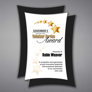 """Concave Acrylic Plaque shown 16"""" tall with white acrylic face plate and black concave background printed with Governor's Services Award."""