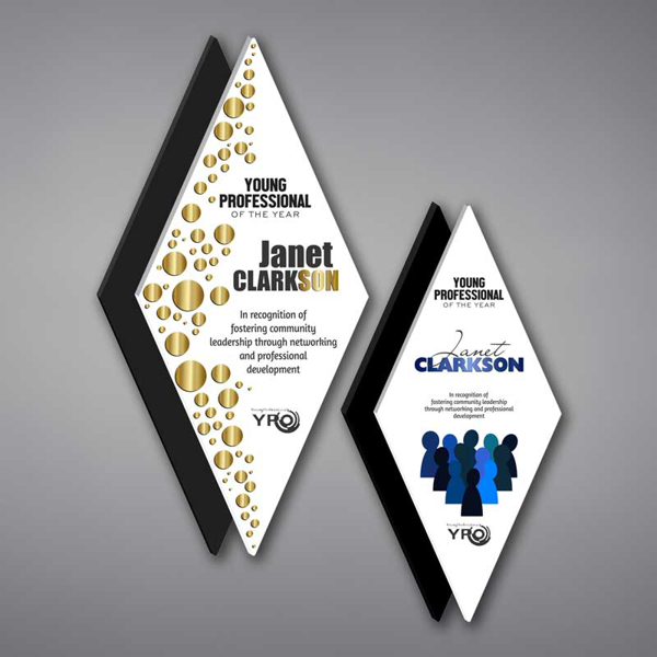 Two Diamond Acrylic Plaques featuring unique floating design and full color imprint of Young Professional of the Year Award