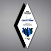 """Diamond Acrylic Plaque shown 19"""" tall with a white acrylic face plate and black diamond background printed with Young Professional of the Year Award"""