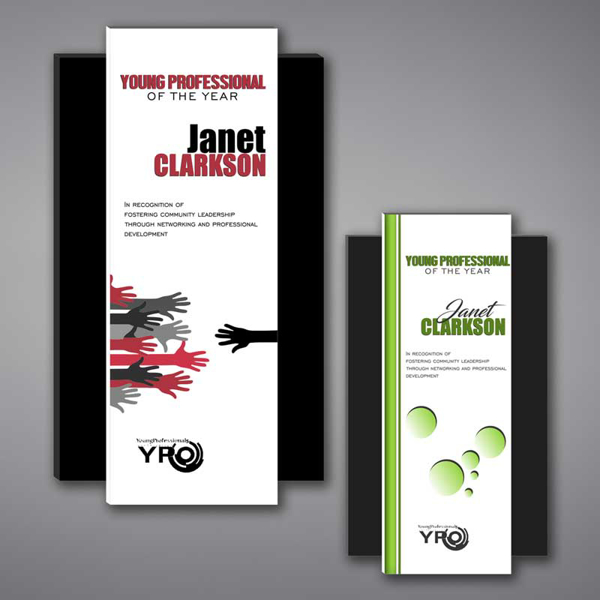Two Shadow Acrylic Plaques featuring a unique floating rectangle design and full color imprint of YPO logo and award text printed.