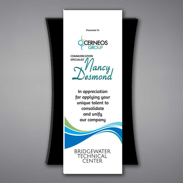 """Plank Acrylic Plaque shown 17"""" tall with a white acrylic face plate eclipsing a black acrylic concave back with Cerneos Group logo printed."""