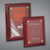 Rosewood Piano Finished Plaques with acrylic cover held gracefully over plaque board with aluminum standoffs.