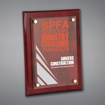 """9"""" x 12"""" Rosewood Piano Finished Plaque with acrylic cover held gracefully over plaque board with aluminum standoffs."""