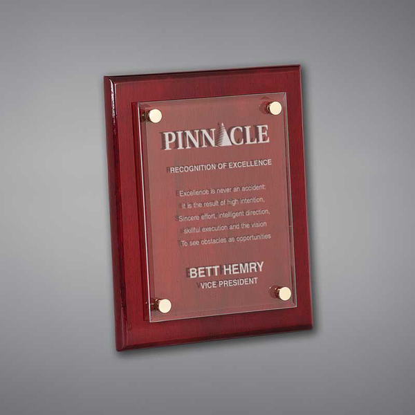 """8"""" x 10"""" Rosewood Piano Finished Plaque with acrylic cover held gracefully over plaque board with aluminum standoffs."""