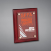 """8"""" x 10"""" Rosewood Piano Finished Plaque with full color printed acrylic cover held gracefully over plaque board with aluminum standoffs."""